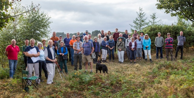 Tom Wood (left) and Dave Rickwood (3rd from left) explained how Wooston hillfort will be restored (Fred on the right will introduce November's talk)