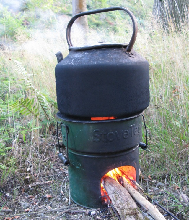 The kettle is on, fuelled by wood, providing fuel for the volunteers