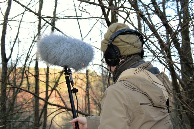 Tom set up the directional mic among the trees